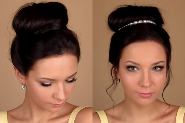 Как с помощью валика сделать пучок из волос с9