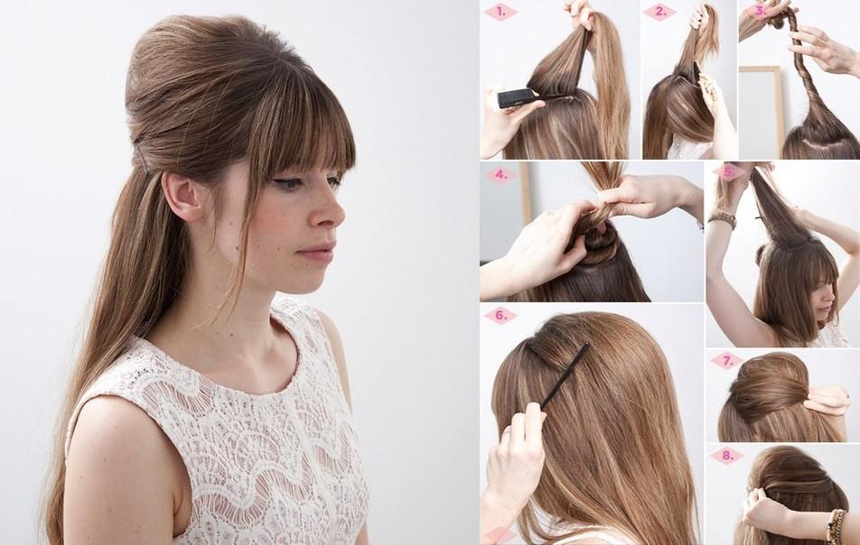 Прическа на среднюю длину волос с начесом