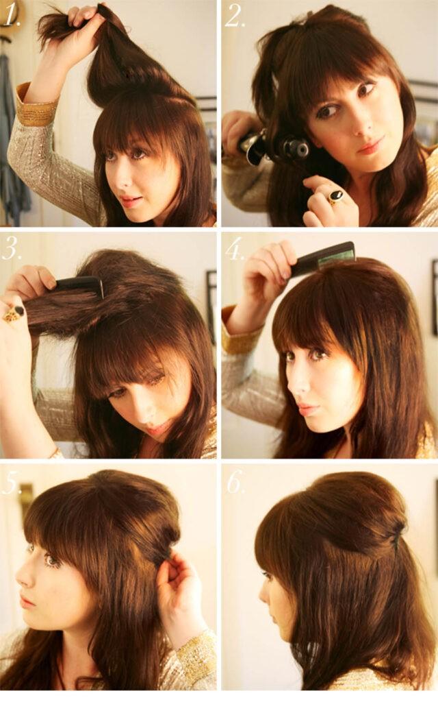 Начёс на средние волосы