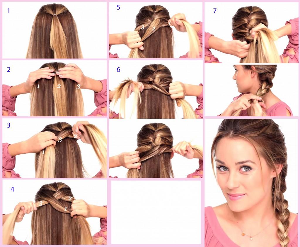 схема плетения косы наоборот